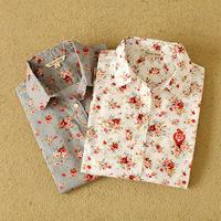 Wholesale manufacturers supply women's cotton long-sleeved shirt printing women shirt blouse