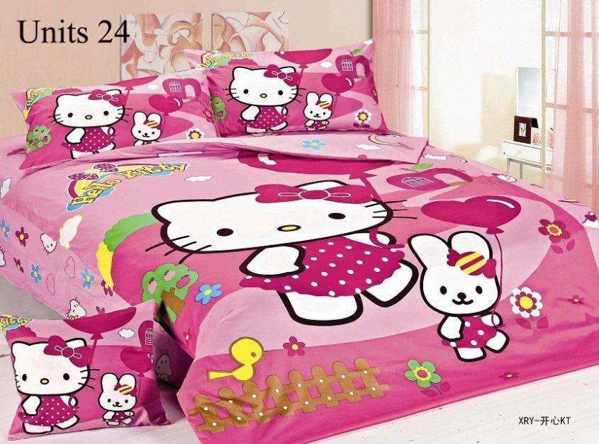 4pcs Single Bedding Sets for Kids Hot Cartoon Bedding Hello Kitty for Boy/girls Free drop shipping(China (Mainland))