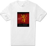 Mens T-Shirts Game of Thrones Red House Lannister Lion T Shirt Women Cotton short Sleeve White XXL Top Boy Men T Shirt