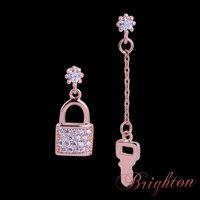 New Trendy Personalized Lock & Key Drop Earrings AAA Zircon Crystal Earrings Jewelry For Women