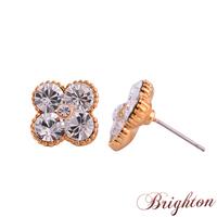 New Fashion Lady Simple Flower Shape Design Earrings Silver Plated AAA Austrian Crystal Stud Earrings Jewelry