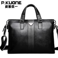 P.kuone Designer Brand Handbags Shoulder Bag Genuine Leather Briefcase Men Messenger Bags Business Mens Laptop IPAD Book Bag