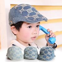 Classic children's denim jacquard explosion models southern squares hat baby beret cap child hat Korean children