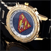 2015 Fashion 24K Gold Plated Big Men Women Quartz Watch Wristwatch Rhinestone Pave set superman bar