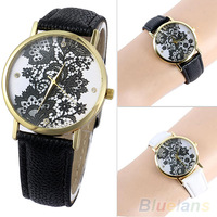 Women's Fashion Round Lace Printed Faux Leather Quartz Analog Dress Wrist Watch 2KUF