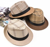 Wholesale 10pcs/Lot Mens Paper Straw Fedora Hats Womens Summmer Plaid Fedoras Hat w/Black Band New Men Sun Straw Caps On Line