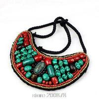 TNL166 Tibetan T-fashion big statement pendant Necklace,Nepal colorful stone beaded sewed Pendants Amazing 2015 Spring New