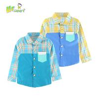 Plaid Patchwork Boys Shirts Costume Blusa infantil menino Children's Clothing For Boys Kids Clothes Children Blouse Shirt Kids