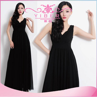 2015 New Arrival women dress deep V-neck party dress chiffon black fashion long dress