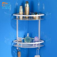 New thicker Space aluminum bathroom shelf double layer triangle corner rack Aluminium design of frame triangle basket