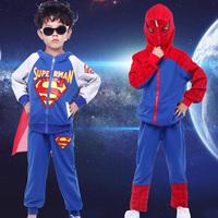 Cartoon Children's Clothing Set Spring Boys Spider-man & Superman Jackets+Pants 2 piece set Boys Clothing Set