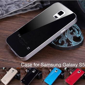 S5 роскошные алюминиевая рама + акрилового стекла обратно металлическая крышка чехол для samsung Galaxy S5 с . в с . в . i9600 ультратонкий