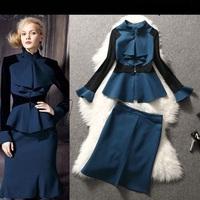 2015 New Arrival OL Style Brand Women Blue Bodycon Sheath Dress Flare Sleeve Work Office Party Two Piece Dresses  LIREN OM02205