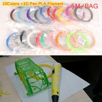 Free shipping 20 Colors 3D Printer Pen Filament PLA 1.75mm Plastic Rubber Consumables Material