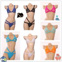 2015 European and American Style Sexy Mesh Bikini Swimwear Brand Triangle Bikinis Set Swimsuit High Waist Bandage Bathing suit