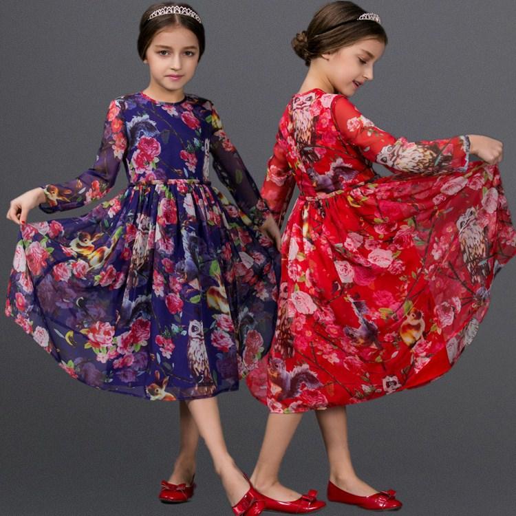free shipping Girls 2015 spring girls dress new fashion high quality dresses casual dress fashion owl print dress baby clothing(China (Mainland))