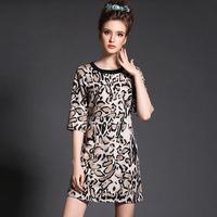 Leopard Printed Women Dress Plus Size Clothing New 2015 Spring Slim Fit Shift Dresses 3xl,4xl,5xl #BL-Y1520