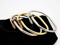 Gorgeous Nail Pattern 316L Stainless Steel Gold/Silver/Rose gold Punk Women Bracelet Bangle With CZ Stones