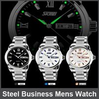 100Pcs30m Waterproof Luminous WatchesBrand Calendar Watch Stainless Steel Business Mens Watch Leisure Fashion Lovers Table Women