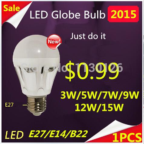 1pcs B22/E27 Bayonet 3W/5W/7W/9W/12W/15W LED SMD 2835 Globe Light Bulbs Ball Lamp Spotlight warm white free shipping(China (Mainland))