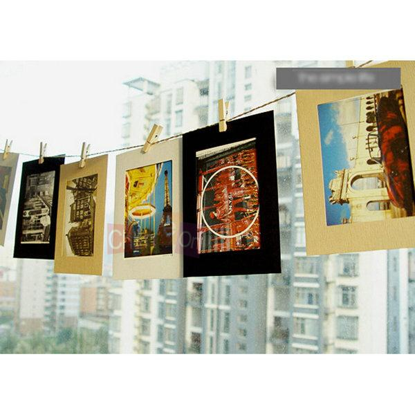 10 Pcs Retro Decor Home Wall Clips Hanging Rope Picture Paper Photo 6'' Frames+Rope+Wood Clips(China (Mainland))