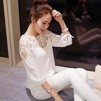 0301 New 2015 Spring Summer Women Fashion Tops Lace Chiffon Blouse Shirt Women Casual Sexy Three Quarter Sleeve Blusas Femininas
