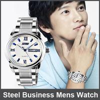 10Pcs30m Waterproof Luminous Watches Brand Calendar Watch Stainless Steel Business Mens Watch Leisure Fashion Lovers Table Women