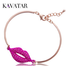 Kavatar New Arrival 2015 Sexy Red Lips Full Crystal Rhinestone Bracelet Fashion Women Jewelry, Free shipping