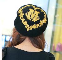 Wholesale 5pcs/Lot Brand Women Spring Embroidered Wool Beret Caps 2015 Fashion Designer Ladies Winter Fleece Berets Hats In Bulk