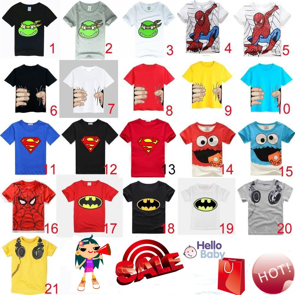 Fashion & hottest children summer clothes unisex t shirt much color kids cartoon pattern boys girls t-shirts(China (Mainland))