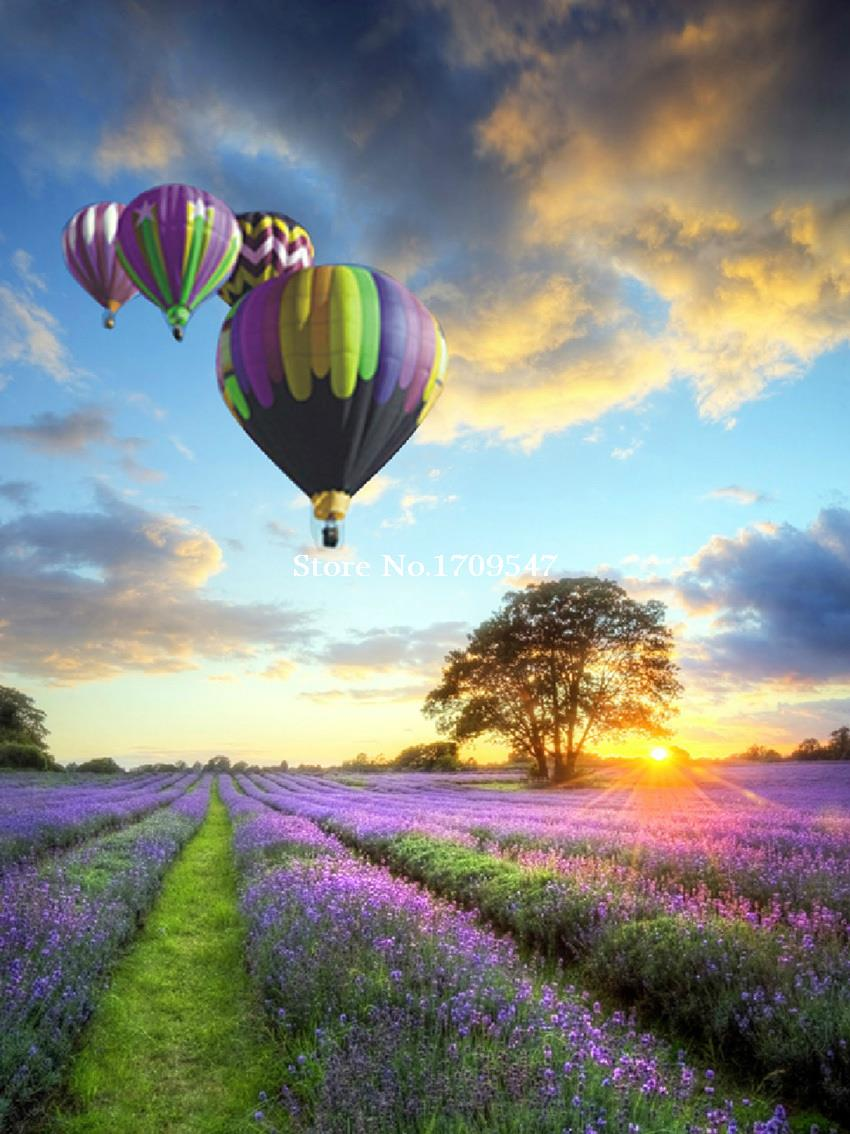 Free shipping 3d diamond painting square drill diamond rhinestone pasted painting colorful lavender heat balloon(China (Mainland))