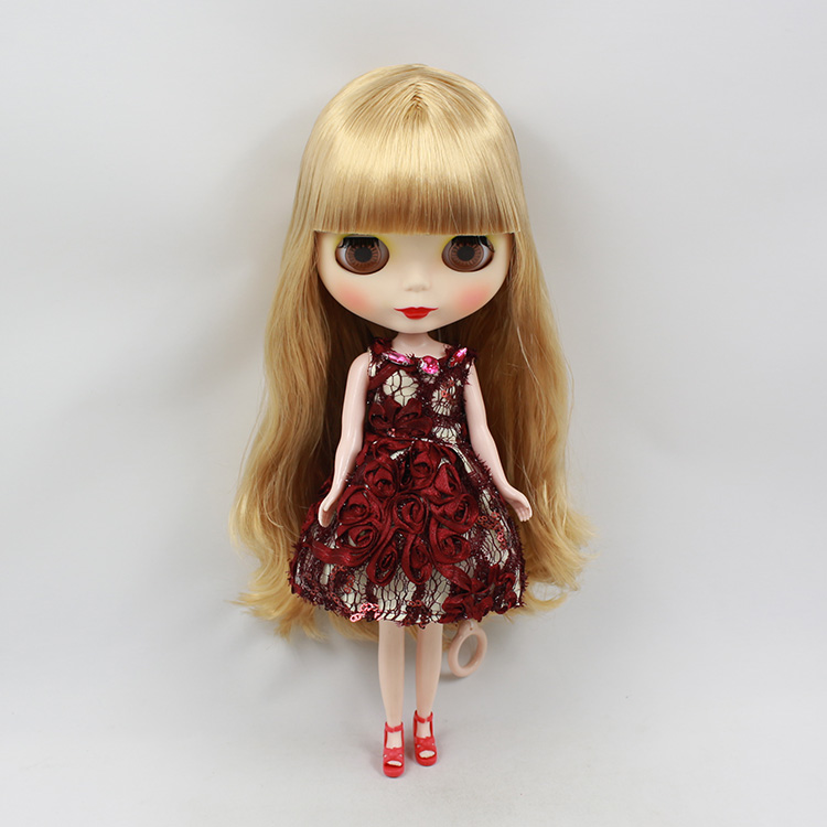 Mini blythedoll cute little blyth nude doll gold long hair with bangs baby dolls for girls gift blyth dolls for sale(China (Mainland))