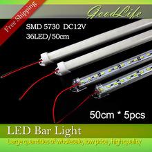 5 unids * 50 CM fábrica venta al por mayor 50 CM DC 12 V 36 SMD 5730 LED duro rígido LED Strip Light Bar con U cáscara de aluminio + cubierta de la pc(China (Mainland))