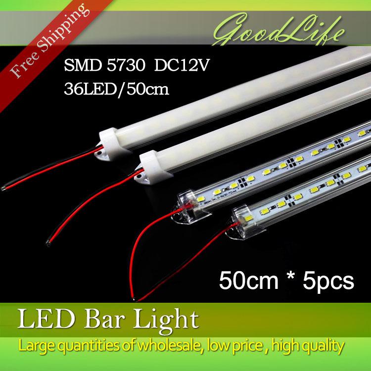 5pcs*50cm Factory Wholesale 50CM DC 12V 36 SMD 5730 LED Hard Rigid LED Strip Bar Light with U Aluminium shell +pc cover(China (Mainland))