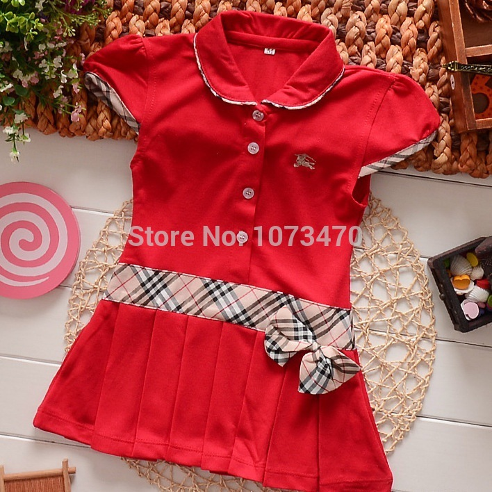 Free shipping 2015 new 2-7 age summer children's clothing,pink mini cotton Lapel Tennis dress,girl's england style dresses GD03(China (Mainland))