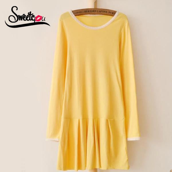 Sweetyou New Arrival 2015 Solid Pleated Basic Cotton Women Dress Full Sleeve O Neck Slim Casual Dress Lace Fringe Mini Vestidos(China (Mainland))