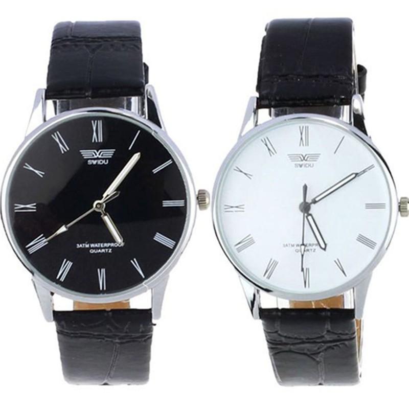 Gofuly 2015 New Fashion Classic Men's Roman Number Quartz Electronic Leather Wrist Watch(China (Mainland))