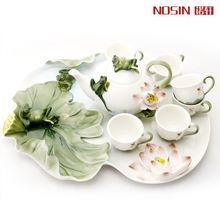 High Quality 8pcs/set Gift Drinkware Kung Fu Bone China porcelain Creative Cup wedding gift enamel porcelain Lotus Pond tea sets