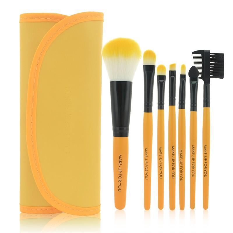 7 Pcs Yellow Makeup Brush
