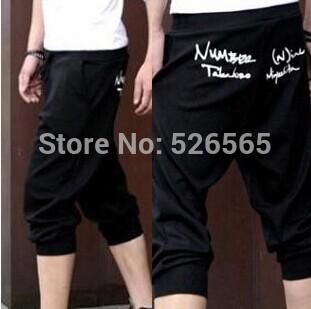 Бесплатная доставка 2015 весна горячая распродажа! мужские виды спорта капри обрезанные короткие штаны штаны бегуном мода свободного покроя широкий брюки DK7