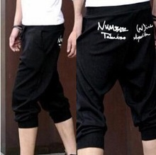 Free Shipping 2015 Spring Hot Sale Mens Sports Capri Cropped Short Pants Sweatpants Jogger Fashion Casual