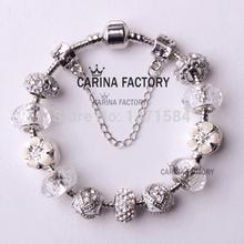 6 color 18 21cm Fashion style charm flower beads fit Pandora style bracelet for women charm