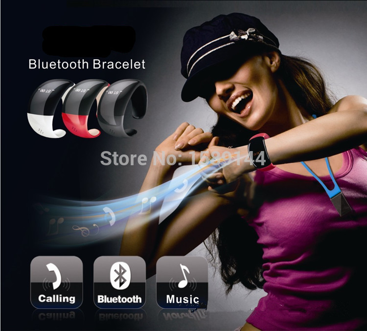 Bluetooth Bracelet Convenient Less Radiation LED Screen Bracelet Watch+ Caller ID Display+anti-Lose+Answer/Hang Up Call GWB020(China (Mainland))