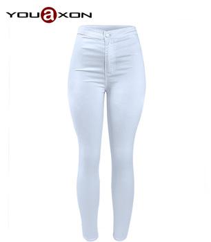 1888 YouAxon Повседневный Модный Female Plus Размер Белый High Талия Stretch Skinny ...