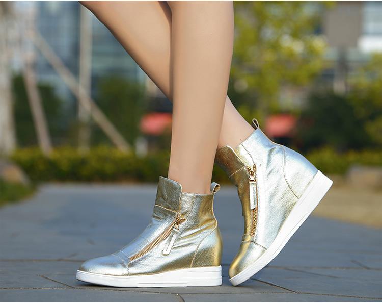 Grátis frete 2015 primavera e outono mulheres cunhas sapatos casuais sapatilhas superiores altas femininos plataforma branco as sapatilhas das mulheres(China (Mainland))