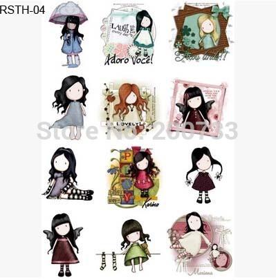 Free shipping 5pcs/lot Cartoon girl and cute animal Iron-on transfer/hot chart, DIY handmade cloth paste/light color cloth(China (Mainland))