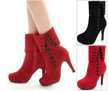 Size 35-43 Women Ankle Boots Heels 2015 Autumn Winter Botas Fashion Red High Heel Shoes Platform Suede Woman Boots Female Shoes(China (Mainland))