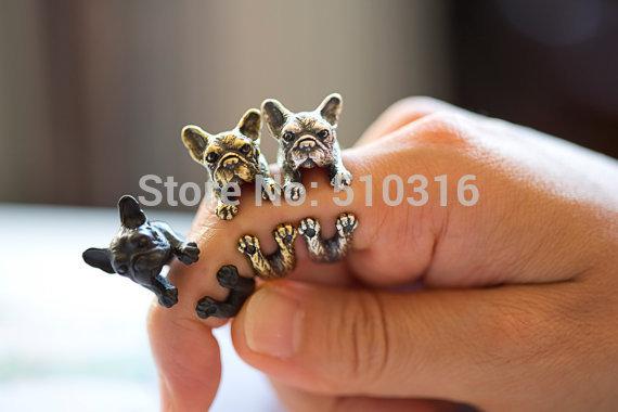 10pcs Brand Vintage Retro French Bulldog Ring for Women Wrap Animal Adjustable cc Austrian Crystal Men's Ring Fine Jewelry(China (Mainland))