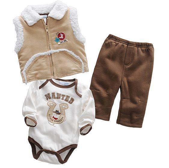 Baby Set Cotton Romper Pant Vest 3PCS Baby Clothing Set Baby Boy Set Autumn Winter Clothing New(China (Mainland))