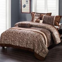 Color Coffee Homehug 7Pc Polyester Short Brushed Comforter Set Zebra Stripe Dot Pattern King Size (China (Mainland))